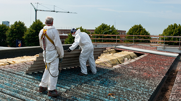 Asbestos roofing system removal