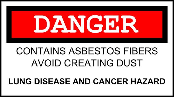 Warning sign asbestos present