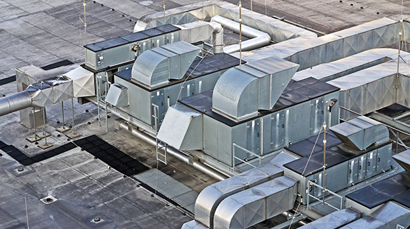 Commercial flat roof at dead load capacity