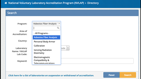 Asbestos national voluntary laboratory accredation program online portal