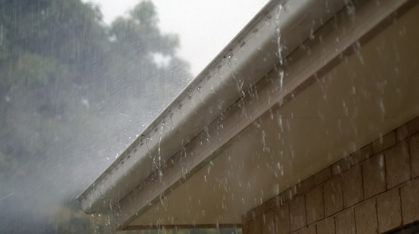Roofing system rain gutters properly installed