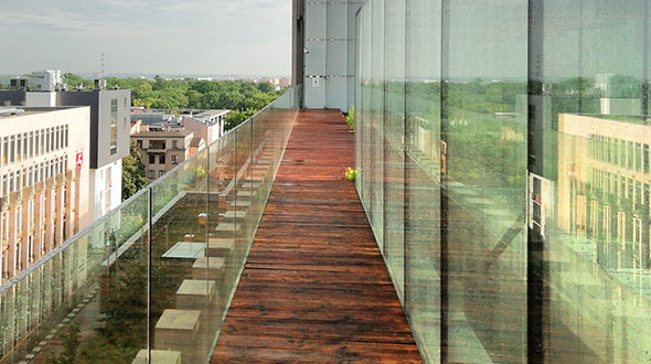 Commercial rooftop deck installed with hardwood flooring