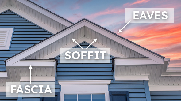 Soffit fascia and eaves work together to ventilate and protect the attic space under a sloped roofing system